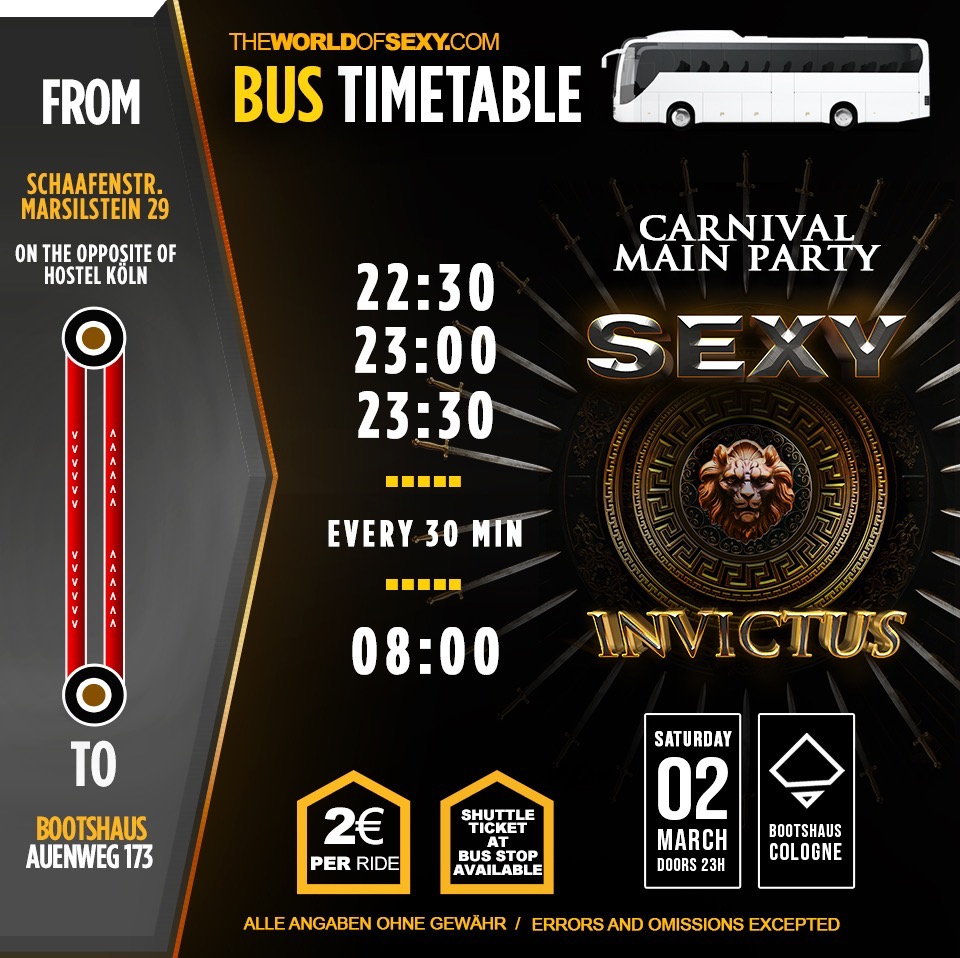 , SEXY INVICTUS – BUS SHUTTLE Table