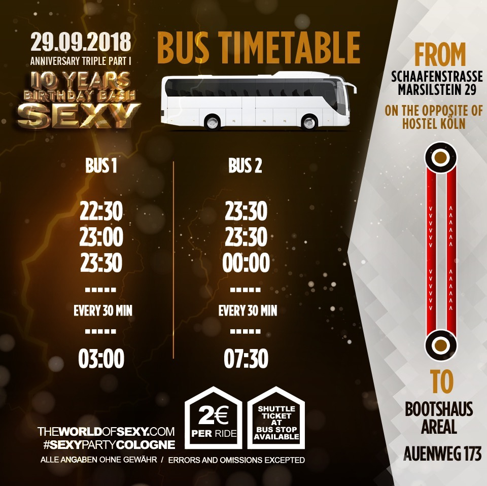 , +++ BIRTHDAY BASH +++ BUS SHUTTLE +++